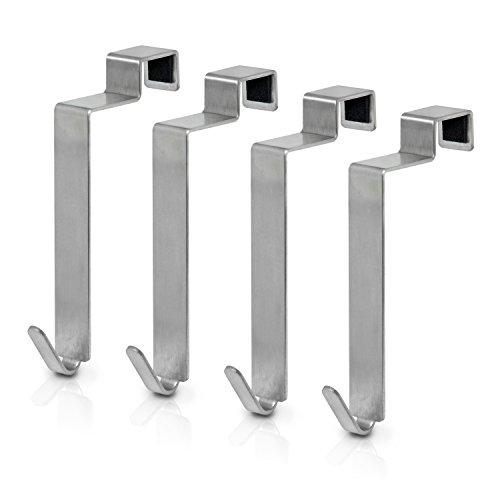 MDCASA Türhaken Edelstahl gebürstet für die Rückseite - 4 Stück - Kleiderhaken über Tür - Handtuchhalter - Türgarderobe - Badezimmerhaken - 100x15x42mm