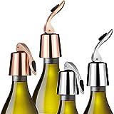 Maitys 4 Stücke Weinflaschenverschluss Edelstahl Weinflaschenverschluss Vakuum Flaschenverschluss mit Innengummi für Weine