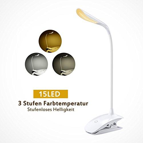LED Klemmleuchte, TOPELEK 15 LED dimmbare Leselampe mit Berührungssensor, Schreibtischlampe Klemmlampe LED-Clip-on Buchlampe mit Stufenloses Helligkeit und 3-Stufen Farbtemperatur, 360 ° flexibler Schwanenhals,Augenschutz Arbeitsplatzleuchten, USB aufladbare und berührungsempfindliche Schalter, Lampe zum Studieren und Arbeite.