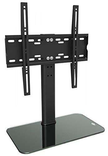 RICOO TV Standfuss Universal Höhenverstellbar Ständer FS304B Fernsehtisch Standfuß Halterung Fernsehständer LCD LED Flachbildfernseher Stand Glas Aufsatz VESA 400x400 Tischständer / Schwarz