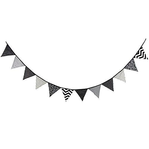 LianLe Wimpelgirlande Wimpelkette Girlande für Dekoration 3.2 M Länge (Schwarz-Weiß-Stil)