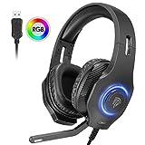 EasySMX USB Gaming Headset, PC Headset, 7.1 Surround Sound Stereo Gaming Kopfhörer für PS4, PC Games, Over-Ear Gamer Headphones mit Mikrofon