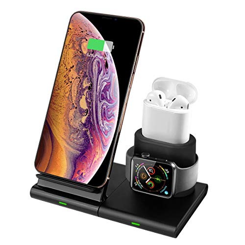 Hoidokly Qi Wireless Charger Ladeständer, 3 in 1 Fast Kabelloses Ladegerät Induktive Ladestation Kompatibel mit Apple Watch Series 1/2/3/4, AirPods, iPhone 11/11 Pro/11 Pro Max/XS/Xs Max/XR/X/8/8 Plus