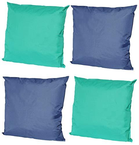 Coen Bakker 4X Outdoor Lounge Kissen 45x45cm viele Farben Dekokissen Wasserfest Sitzkissen Garten Stuhl, Farbe:2X Aqua - 2X Blau