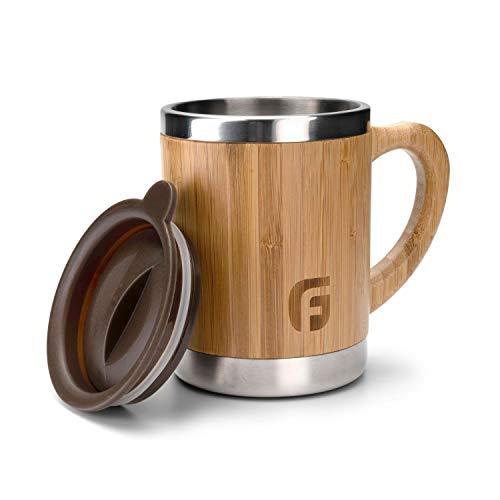 GranFore isolierte Edelstahl Tasse mit Deckel | 300ml Bambus Kaffeebecher Thermo | rostfreier Öko Coffee to Go Becher | Bambus Tasse Edelstahl