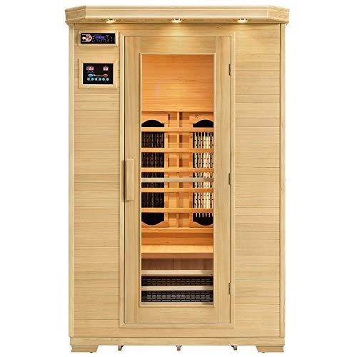 Artsauna Infrarotkabine Oslo mit Triplex-Heizsystem | 2 Personen | Hemlock Holz | 120 x 100 cm | Infrarotsauna Infrarot Wärmekabine Sauna Kabine
