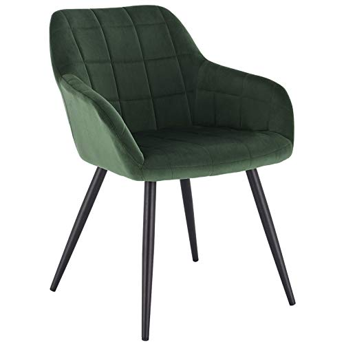 WOLTU Esszimmerstuhl BH93dgn-1 1 Stück Küchenstuhl Polsterstuhl Wohnzimmerstuhl Sessel mit Armlehne, Sitzfläche aus Samt, Metallbeine, Dunkelgrün
