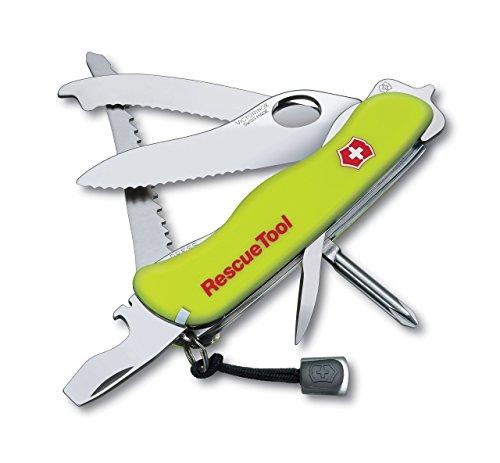 Victorinox Taschenmesser RescueTool (15 Funktionen, Frontscheibensäge, Scheibenzertrümmerer, Lebenslange Garantie) gelb Nachtleuchtend