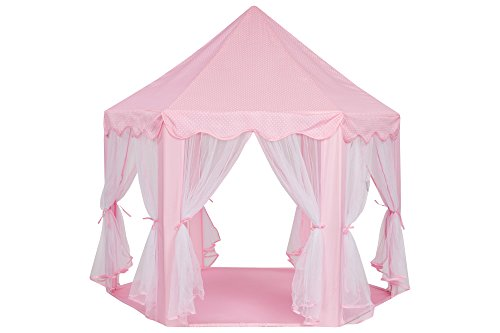 Schramm Prinzessinnenzelt in 3 Farben Prinzessin Zelt wählbar mit LED Sternen Beleuchtung Kinder Spielzelt auch als Bällezelt Bälle Kinder Zelte Spielschloß Spielzelte Spielhöhle, Farbe:rosa