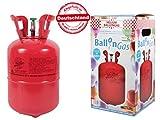 Party Factory Heliumgasflasche Heliumgas Helium Gasflasche Balloon Gas Ballongas Einweg für ca. 30 Ballons + Bügelpatch