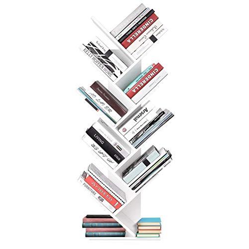 Homfa Bücherregal Raumteiler Standregal Büroregal Holzregal Wandregal CD DVD Regal Baum-Form Regal modern Dekoregal weiß 127 * 40 * 20 cm(H x B x T)