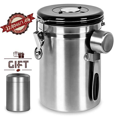 Shayson Große Vakuum Kaffeedose Teedose, 1800ml Luftdichter Kaffeebehälter aus Edelstahl für 635g/22.8oz Kaffeebohnen, Tee,Kaffee Vorratsdose mit 30 ml Messlöffel und 70 ml Mini-Reiseglas