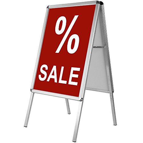 Werbeaufsteller Außenbereich  beidseitig  klappbar  Aluminium  DIN A1 122 x 64 x 66cm - Kundenstopper Plakatständer Werbetafel Gehwegaufsteller