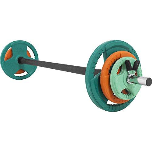 GORILLA SPORTS Langhantel-Set Aerobic 19,3 kg Gummi Gripper – Langhantelstange, Gewichtsscheiben und Federverschlüsse