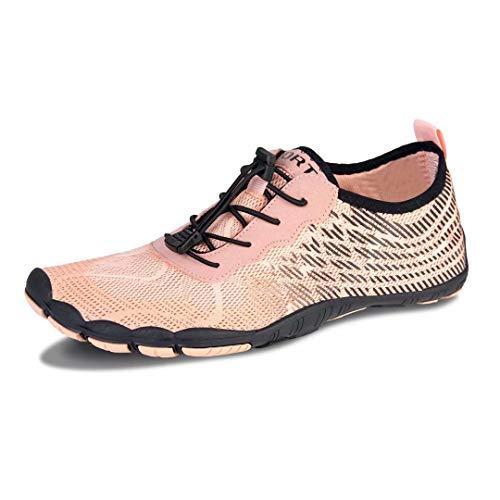 Herren Damen Outdoor Fitnessschuhe Barfußschuhe Trekking Schuhe Badeschuhe Schnell Trocknend rutschfest(Grün Blau,39 EU)
