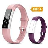 TOOBUR Fitness Armband für Kinder Damen, Schrittzähler Uhr Fitness Tracker mit Kalorienzähler, Wasserdicht Schmal Aktivitätstracker Armbanduhr mit Schlafmonitor und Vibration Wecker (Rosa Violett)