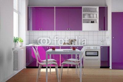 Alu-Dibond-Bild 110 x 70 cm: 'Kleine Küche mit lila Küchenzeile', Bild auf Alu-Dibond