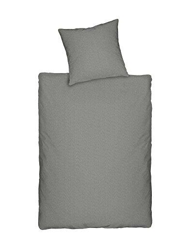 Dormisette Q345 Jersey Bettwäsche in Melange-Optik, Größe 80/80 und 135/200 cm, grau