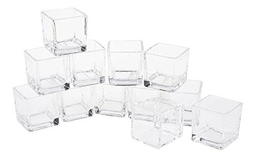 12er-Pack Teelicht-Gläser Teelichthalter 'Cube' 6x5,5x5,5cm Teelichte klar Glas Würfel eckig Vasen Dippschalen Votives VBS Großhandelspackung