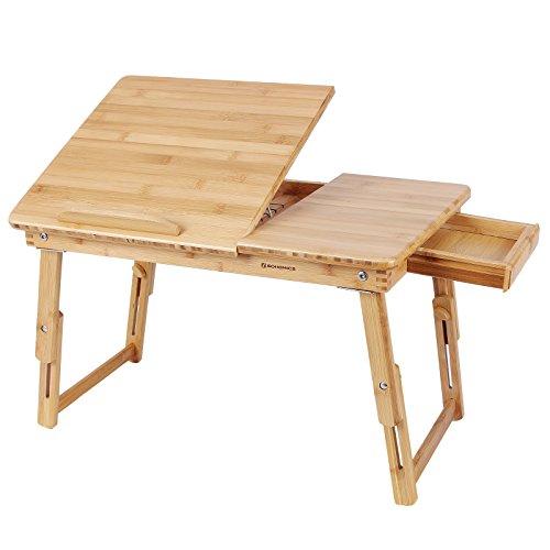 SONGMICS Höhenverstellbarer Laptoptisch mit Schublade, klappbarer Notebooktisch aus Bambus, Betttisch für Lesen oder Frühstücks, Zeichentisch und Esstisch für Bett 55 x (21-29) x 35 cm (B x H x T) LLD01N