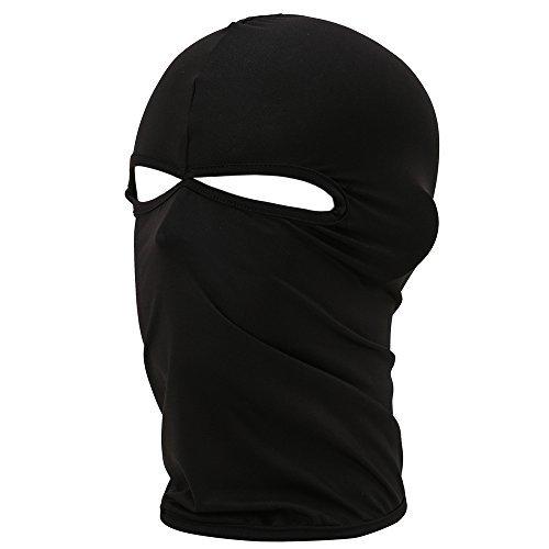 FENTI Multifunktionen Gesichtsmaske aus Lycra 2 Loecher Sport Balaclava Einfarbige Maske Warm Fahrrad Ski Snowboard Schwarz