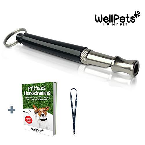 WellPets Profi-Hundepfeife 1 Stück | Bonus: 1 x Umhängeband & Ebook Hundetraining | Hundepfeifen ultraschall, Hochfrequenz, Verstellbar & leise (schwarz)