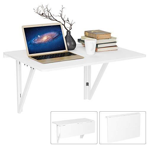 Homfa Wandtisch klappbar weiß mit 2 Halterungen klapptisch Wand Küche Wandklapptisch Holz Esstisch Küchentisch Schreibtisch Computertisch 30KG belastbar 80x60cm