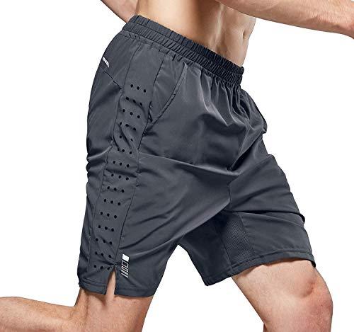 LOHOTEK 7-Zoll-Laufshorts für Herren Atmungsaktive und schnell trocknende hochelastische Fitnessshorts aus leichtem Mesh mit Futter Rückentaschen für Fitness und Laufen (Grau, XXL)
