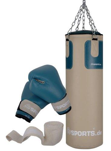 ScSPORTS Boxsack-Set, 25 kg, Boxsack, Boxhandschuhe, Boxbandagen, Boxsackhalterung, Kunstleder, beige / petrol, 80 x 30 cm