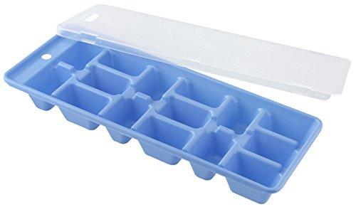 Fackelmann Eiswürfelformer, Eiswürfelbox mit Deckel aus Kunststoff, robuster Eiswürfelbehälter in blau/grün/lila - spülmaschinengeeignet, Menge: 1 Stück