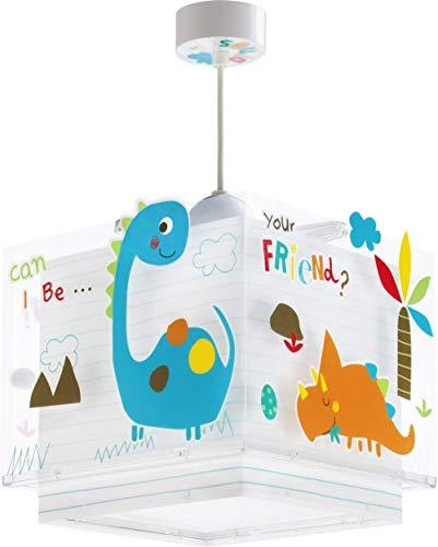 Dalber Dinos Hängelampe Kinder, Plastik, E27, Mehrfarbig, 24 x 24 x 23 cm