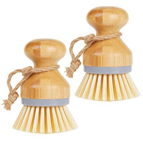 mDesign 2er-Set Spülbürste aus Bambus – runde Küchenbürste zur Reinigung von Töpfen, Pfannen, Tellern und Besteck – auch als Gemüsebürste geeignet – grau/naturfarben