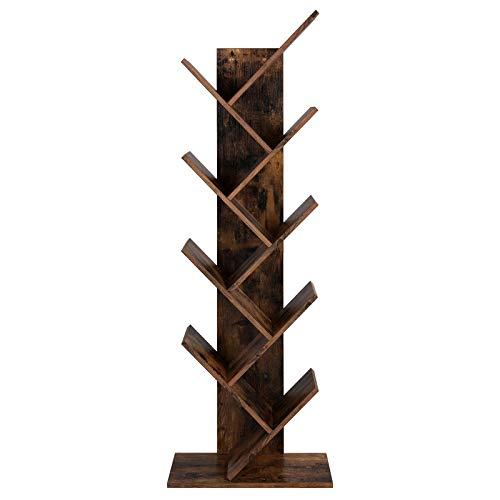 VASAGLE Bücherregal, Standregal mit 8 Ebenen, in Baumform, aus Holz, für Wohnzimmer, Home Office und Büro, Vintage, Dunkelbraun LBC11BX