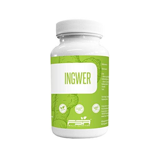 Ingwer Kapseln 500mg hochdosiert der Profisport Marke FSA Nutrition | liefert wertvolle Scharfstoffe wie Shoagol und Gingerol | Ingwerpulver | Ohne Füll- und Trennstoffe | vegan | 90 Kapseln