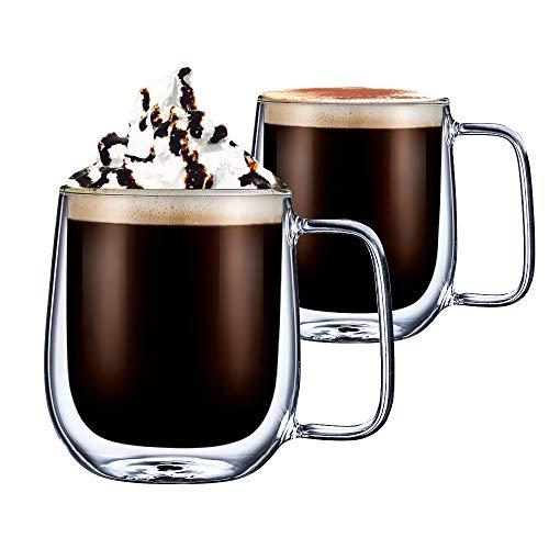 cmxing Doppelwandige Gläser Set Thermoglas mit Griff Kaffeeglas Trinkgläser 2-teiliges 300 mL für Espresso Tee Latte Cola Cappuccino Getränk
