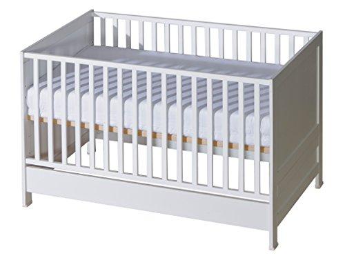 Belivin 2in1 Babybett, Gitterbett 140x70cm weiß | umbaubar zum Juniorbett Jugendbett inkl. Matratze | mitwachsendes multifunktionelles Baby Bett Kinderbett | besonders stabil durch Buche Massivholz