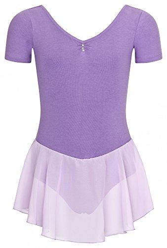 tanzmuster Kurzarm Ballettanzug / Balletttrikot 'Betty' mit luftigem Chiffon Röckchen. Süßes Ballettkleid mit Glitzersteinchen in rosa, Größe:116/122