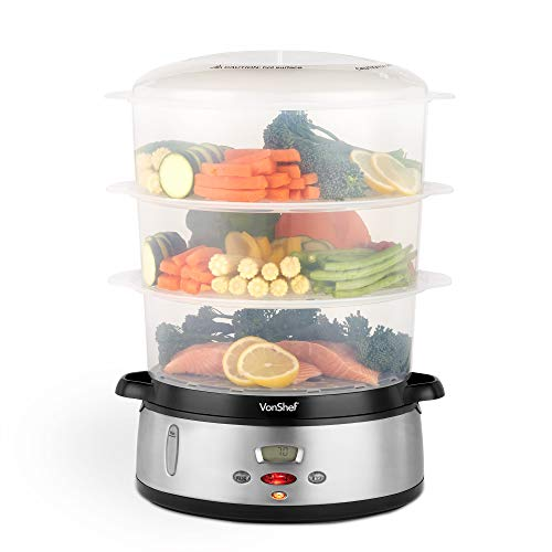 VonShef Dampfgarer 800W Digital mit 3 Behältern – Zur gesunden Zubereitung von Fisch, Fleisch, Gemüse – BPA-frei – Inklusive Reisschale