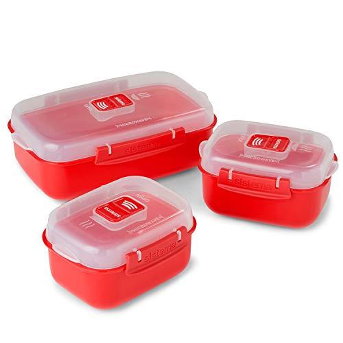 Sistema Mikrowellengeschirr Set Heat & Eat, Plastik, rot/durchsichtig, 23 x 14.1 x 16.4 cm, 3