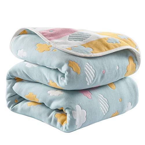Levoberg Decke Baby Baumwolle, extra weich und groß, 100% Baumwolle, 6-lagig, Babydecke, Einschlagdecke, Kinderwagendecke, Erstlingsdecke, Kinderdecke, 120 x 150cm