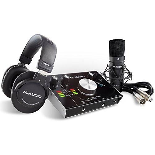 M-Audio M-Track 2x2 Vocal Studio Pro | Vocal Produktionspaket inklusive einem Interface auf professionellem Niveau Kondensatormikrofon XLR Kabel Kopfhörer, hochgelobter C Series Software