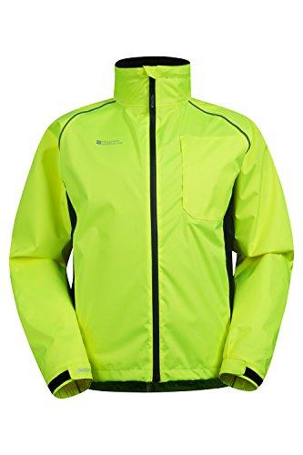 Mountain Warehouse Adrenaline Warnjacke für Herren - Atmungsaktiver Herrenmantel, Leucht-Print, verstellbarer Saum, Regenmantel - Für Radfahren, Joggen und Wandern Gelb XX-Large