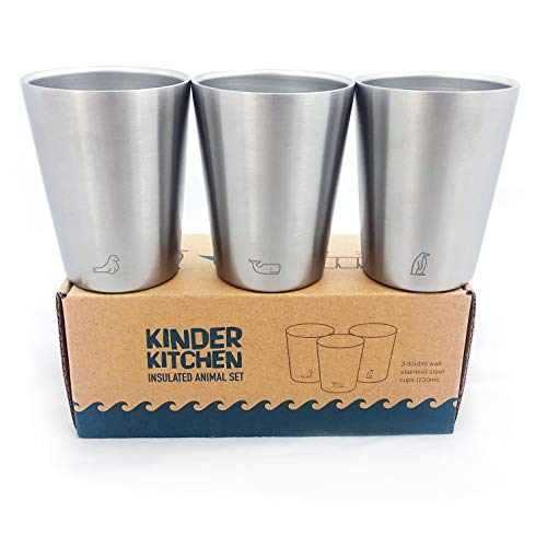 'Meerestiere' Thermo Edelstahl Becher (250ml/x3) | Kalte & warme Getränke | BPA-frei, spülmaschinenfest, stapelbar, doppelwandige Metallbecher | Stahltassen, Isolierbecher für Kinder, Kaffee, Camping