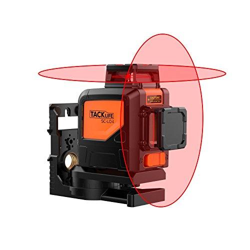 360° Kreuzlinien-Laser, Tacklife SC L04 selbstnivellierenden Vertikale Linie und Horizontaler Linie mit Messbereich 30M und Neigungsfunktion, IP 54, inkl. Schutztasche, Magnetische schwenkbare Haltung