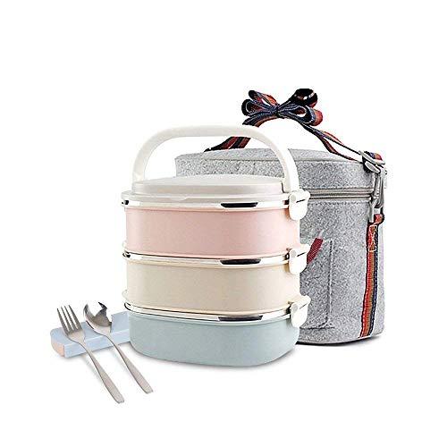 Lunchbox Edelstahl-Quadrat Snackbox mit 3 Unterteilungen Frischhaltedosenset Aufbewahrungsboxen,abbaubar und auslaufsicher, lange Haltung von Wärme/Kälte mit Löffel Essstäbchen und Lunchtasche