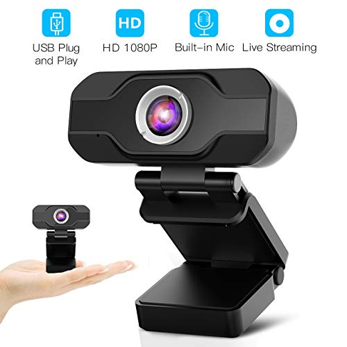 Aiglam Webcam HD 1080P, Webcam Full HD USB Kamera mit Mikrofon USB,H.264-Komprimierung Schnellere Uploads,für Video Chat Streaming(Black New)