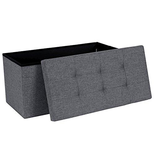 Songmics Faltbarer Sitzhocker, Sitzbank belastbar bis 300 kg leinen dunkelgrau 76 x 38 x 38 cm LSF47K
