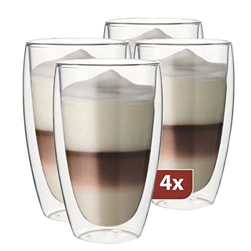 MAXXO doppelwandige gläser Latte Macchiato Set 4X 380 ml, Set mit Schwebe-Effekt