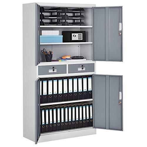 Juskys Metall Aktenschrank Office mit 4 Türen & 2 Schubladen | 180 x 90 cm | abschließbar | 2 Schlüssel | weiß - grau | Büroschrank Lagerschrank
