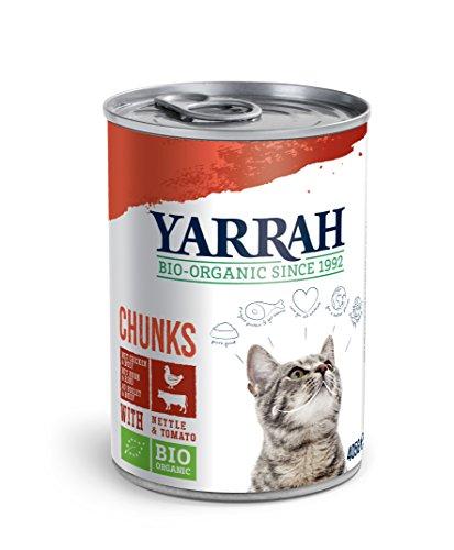 Yarrah Bio Katzenfutter Bröckchen Huhn und Rind 405g, 12er Pack (12 x 405 g)